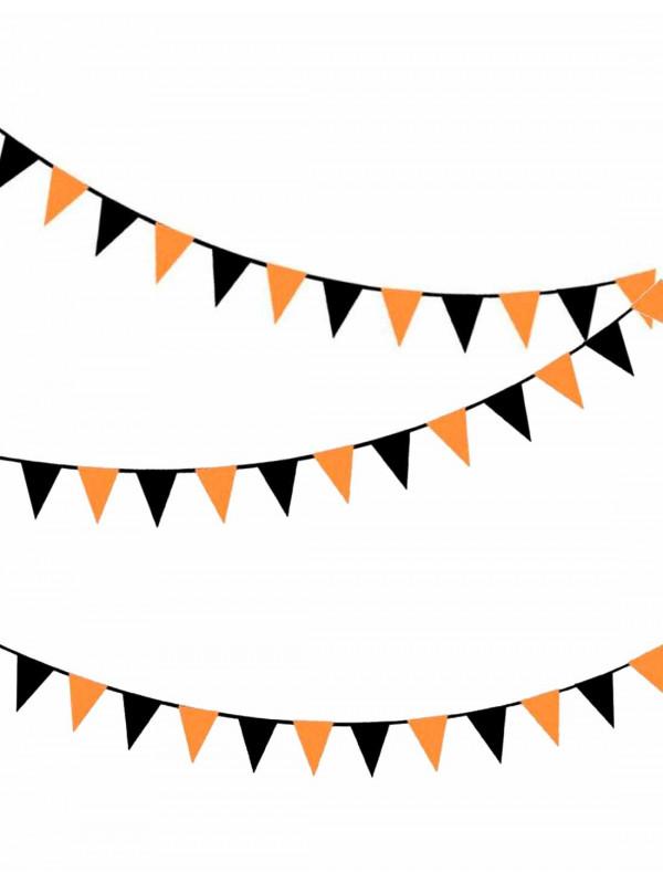 Guirnalda de banderines naranjas y negros